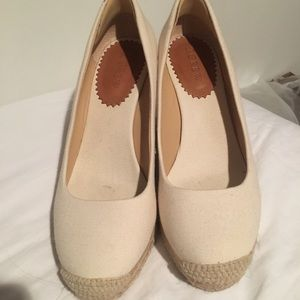 J Crew Cream espadrille wedges